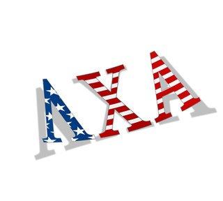 """Lambda Chi Alpha American Flag Greek Letter Sticker - 2.5"""" Tall"""