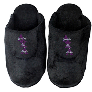 DISCOUNT-Lambda Chi Alpha Black Solid Letter Slipper