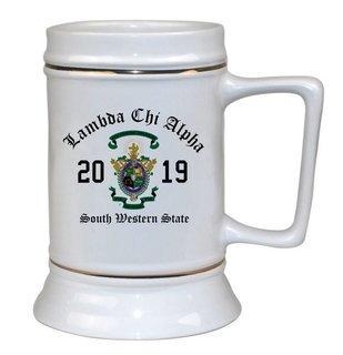 Lambda Chi Alpha Ceramic Crest & Year Ceramic Stein Tankard - 28 ozs!