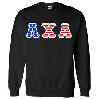 DISCOUNT-Lambda Chi Alpha Greek Letter American Flag Crewneck