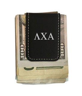 Lambda Chi Alpha Greek Letter Leatherette Money Clip