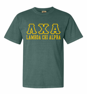 Lambda Chi Alpha Greek Outline Comfort Colors Heavyweight T-Shirt