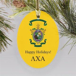 Lambda Chi Alpha Holiday Color Crest - Shield Ornament