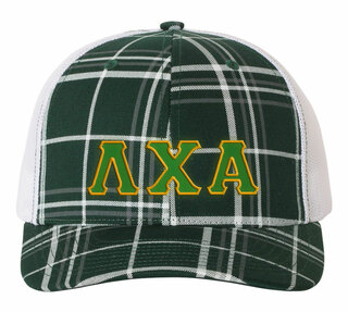 Lambda Chi Alpha Plaid Snapback Trucker Hat - CLOSEOUT