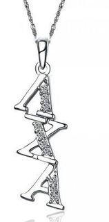 Lambda Chi Alpha Sweet Heart Diagonal Silver Lavalier