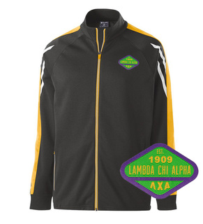 DISCOUNT-Lambda Chi Alpha Woven Emblem Greek Flux Track Jacket