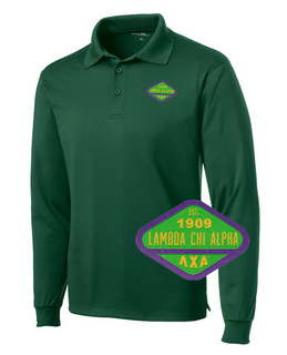 DISCOUNT-Lambda Chi Alpha Woven Emblem Greek Long Sleeve Dry Fit Polo