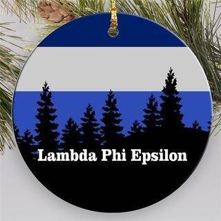 Lambda Phi Epsilon Christmas Mountains  Round Ornaments