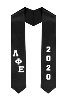 Lambda Phi Epsilon Greek Diagonal Lettered Graduation Sash Stole With Year