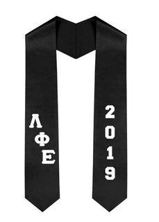 Lambda Phi Epsilon Greek Diagonal Lettered Graduation Sash Stole With Year