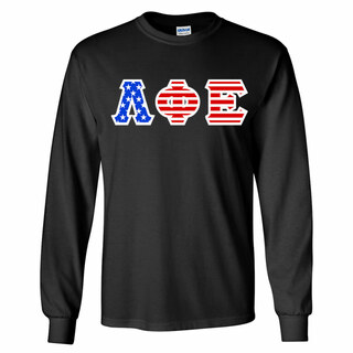 Lambda Phi Epsilon Greek Letter American Flag long sleeve tee
