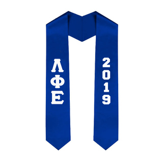 Lambda Phi Epsilon Greek Lettered Graduation Sash Stole With Year - Best Value