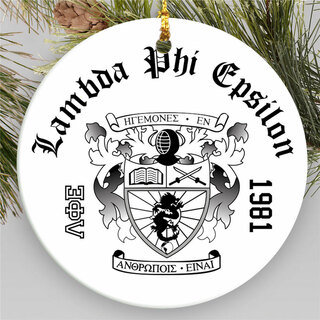 Lambda Phi Epsilon Round Christmas Shield Ornament