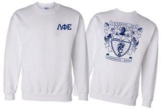 Lambda Phi Epsilon World Famous Crest - Shield Printed Crewneck Sweatshirt- $25!