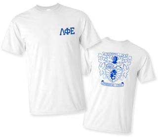 Lambda Phi Epsilon World Famous Crest - Shield Tee