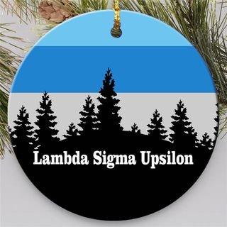 Lambda Sigma Upsilon Christmas Mountains  Round Ornaments