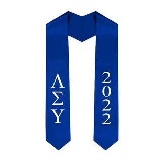 Lambda Sigma Upsilon Greek Lettered Graduation Sash Stole With Year - Best Value
