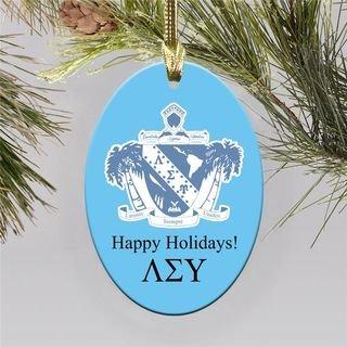 Lambda Sigma Upsilon Holiday Color Crest - Shield Ornament