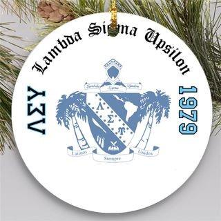Lambda Sigma Upsilon Round Christmas Shield Ornament