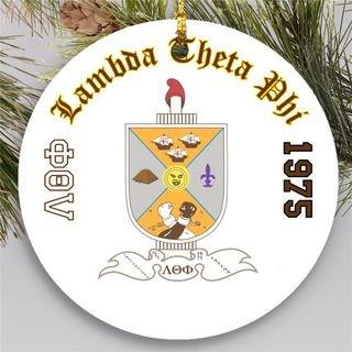 Lambda Theta Phi Round Christmas Shield Ornament