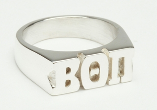Large Silver Fraternity Block Ring