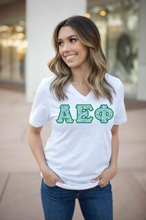 Lettered Sorority V-Neck T-shirt