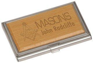 Mason / Freemason Crest Wood Business Card Holder