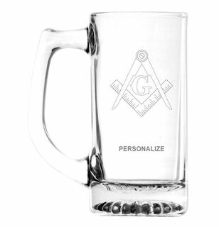 Mason / Freemason Glass Engraved 25 Ounce Mug