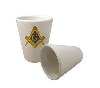 Mason / Freemasons Crest Ceramic Collectors Glass