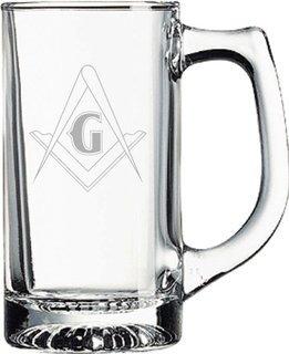 Mason / Freemason Glass Engraved Mug
