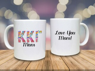 Mom Floral Greek Coffee Mug
