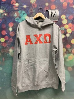 New Super Savings - Alpha Chi Omega Custom Twill Hooded Sweatshirt - GREY