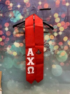 New Super Savings - Alpha Chi Omega Greek Lettered Graduation Sash Stole with Crest - RED 1 of 2