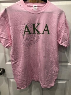New Super Savings - Alpha Kappa Alpha Greek Crest - Shield T-Shirt - PINK