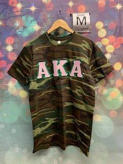 New Super Savings - Alpha Kappa Alpha Lettered T-Shirt - CAMO