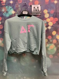 New Super Savings - Delta Gamma Bella + Canvas Womens Cropped Crew Fleece - SAGE GREEN