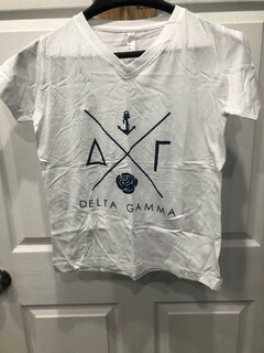New Super Savings - Delta Gamma V-Neck Tee - WHITE
