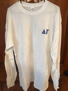 New Super Savings - Delta Gamma World Famous Crest - Shield Long Sleeve Tee - WHITE