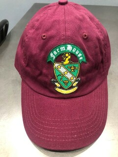 New Super Savings - Farmhouse Fraternity Crest - Shield Emblem Hat - MAROON 1 of 12