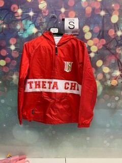 New Super Savings - Theta Chi Charles River Custom Stripe Greek Pullover Anorak - RED