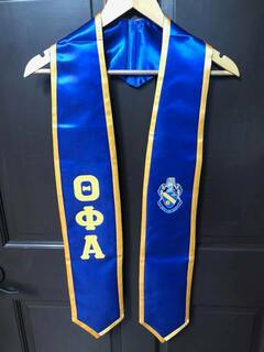 New Super Savings - Theta Phi Alpha Greek 2 Tone Lettered Graduation Sash Stole - BLUE AND GOLD