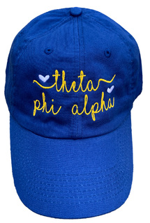New Super Savings - Theta Phi Alpha Script Hearts Ball Cap - BLUE
