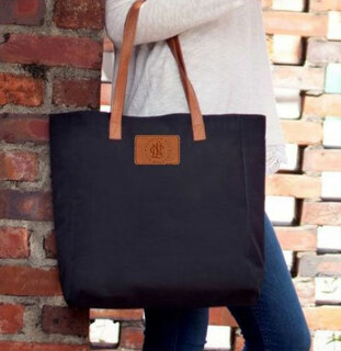 National Charity League Leather Patch Black Tote - CLOSEOUT