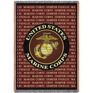 Marine Corps Gift Blanket USMC Semper Fidelis Heirloom Woven Throw