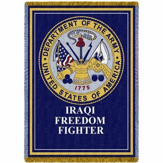 US Army Iraqi Freedom Fighter Gift For Veteran Soldier Woven Throw Blanket