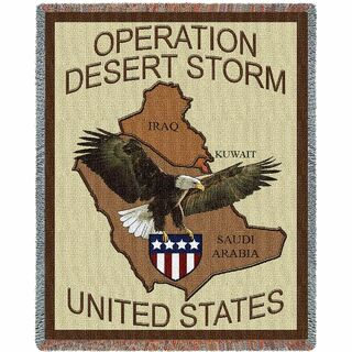 USA Operation Desert Storm Woven Large Soft Comforting Throw Blanket Gift For Veteran Soldier