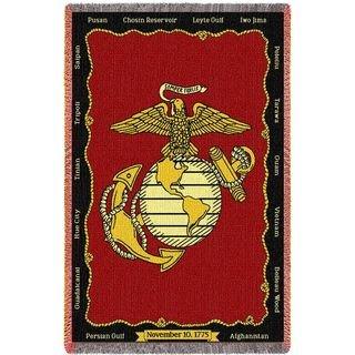 Marine Corps USMC Battles Gift For Soldier Veteran Woven Throw Blanket