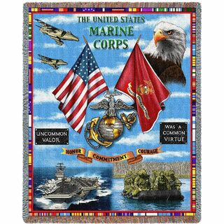 Marine Corps Gift Blanket USMC Aircraft Land Sea And Air Woven Heirloom Throw