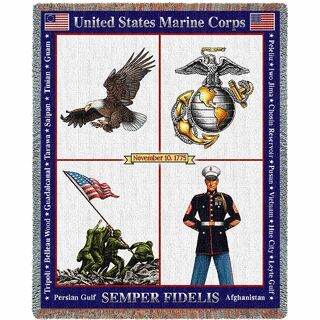 Marine Corps Gift Blanket - USMC American Made Large Woven Heirloom Throw