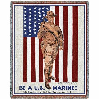 Be A Marine Vintage Poster Military Soldier Throw Blanket